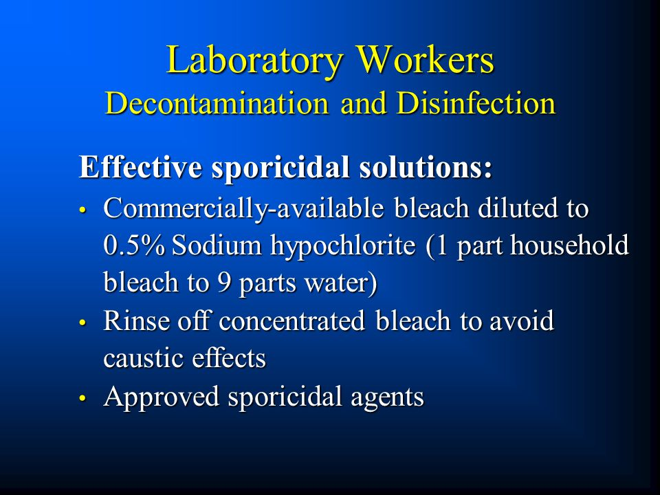 Laboratory Workers Decontamination and Disinfection
