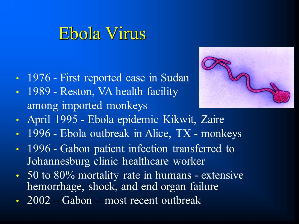 Ebola Virus 1976 - First reported case in Sudan