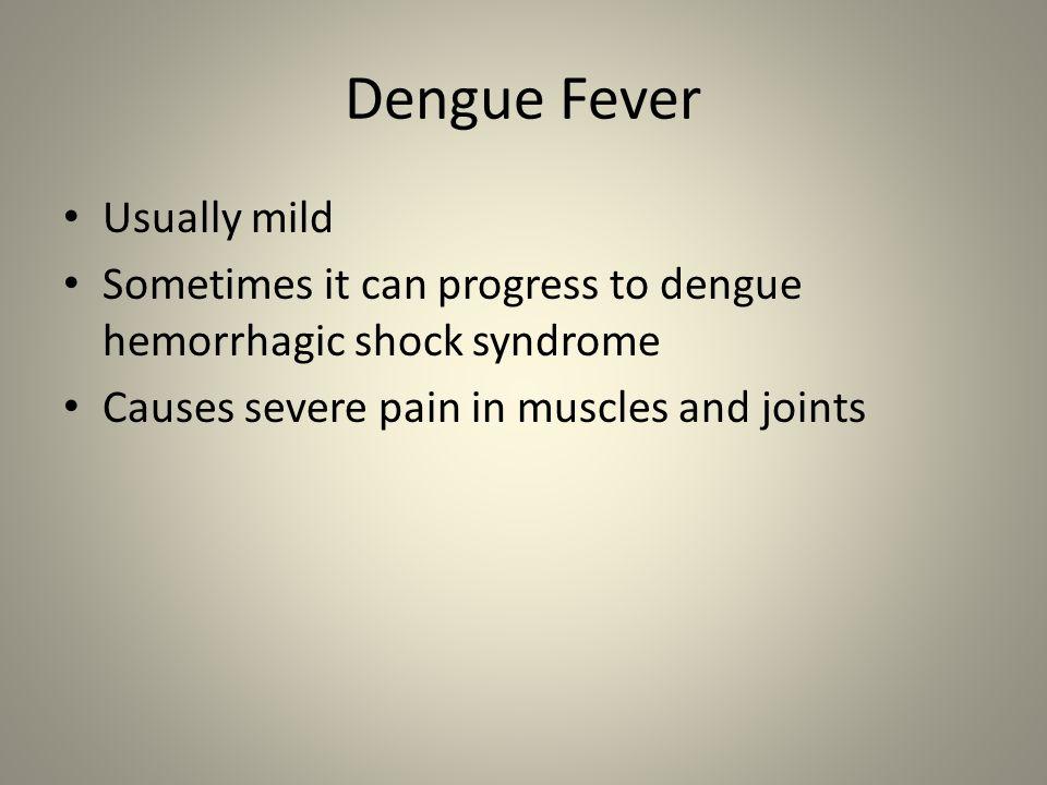 Dengue Fever Usually mild