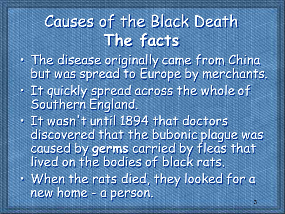 Causes of the Black Death The facts