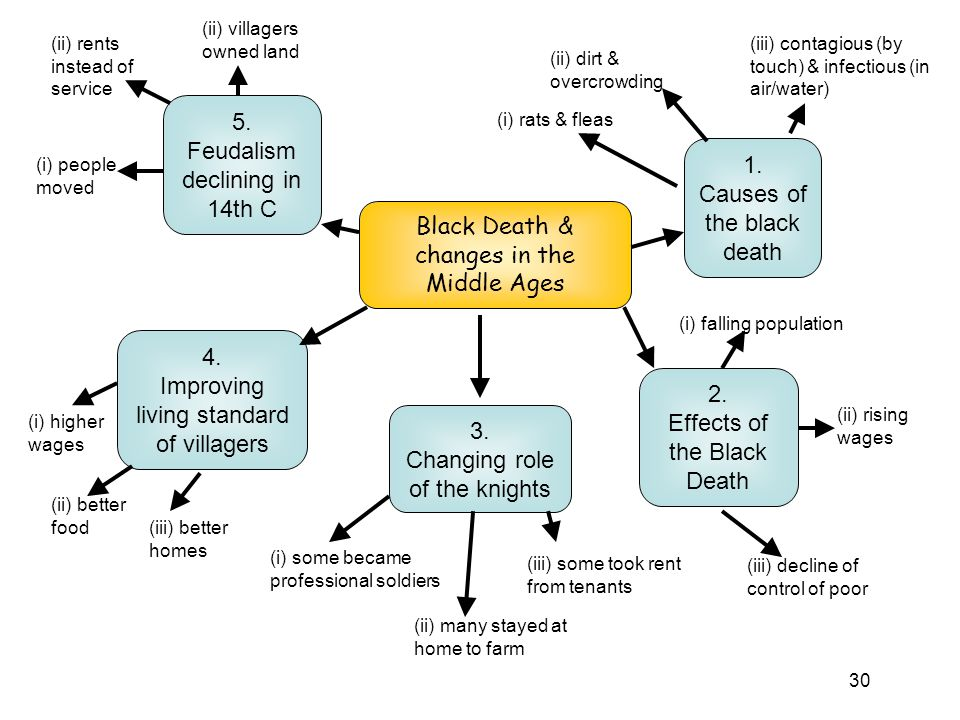 Feudalism declining in 14th C 1. Causes of the black death