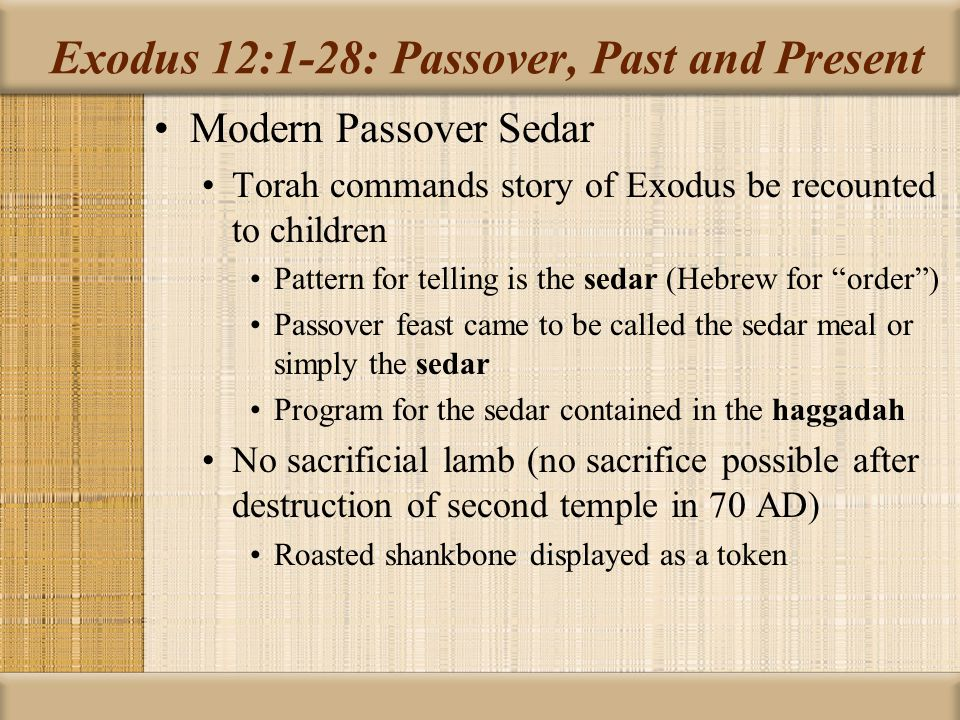 Exodus 12:1-28: Passover, Past and Present