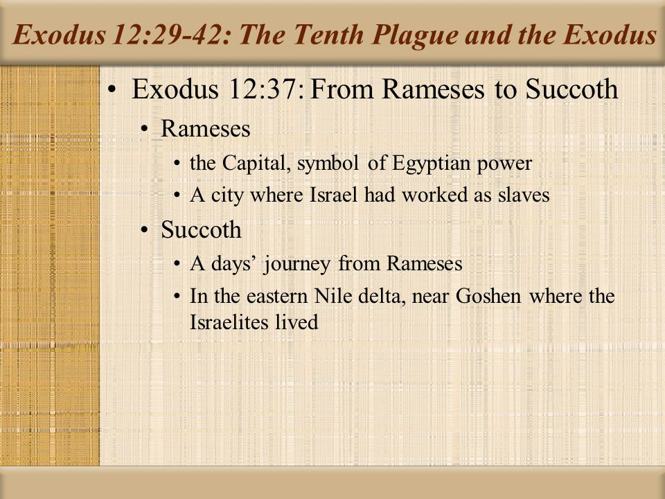 Exodus 12:29-42: The Tenth Plague and the Exodus