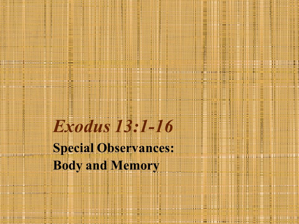Special Observances: Body and Memory