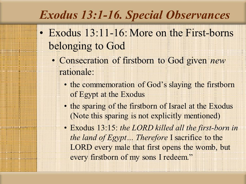 Exodus 13:1-16. Special Observances
