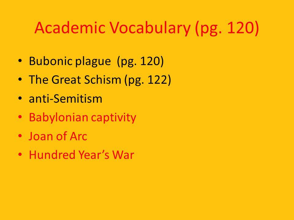 Academic Vocabulary (pg. 120)