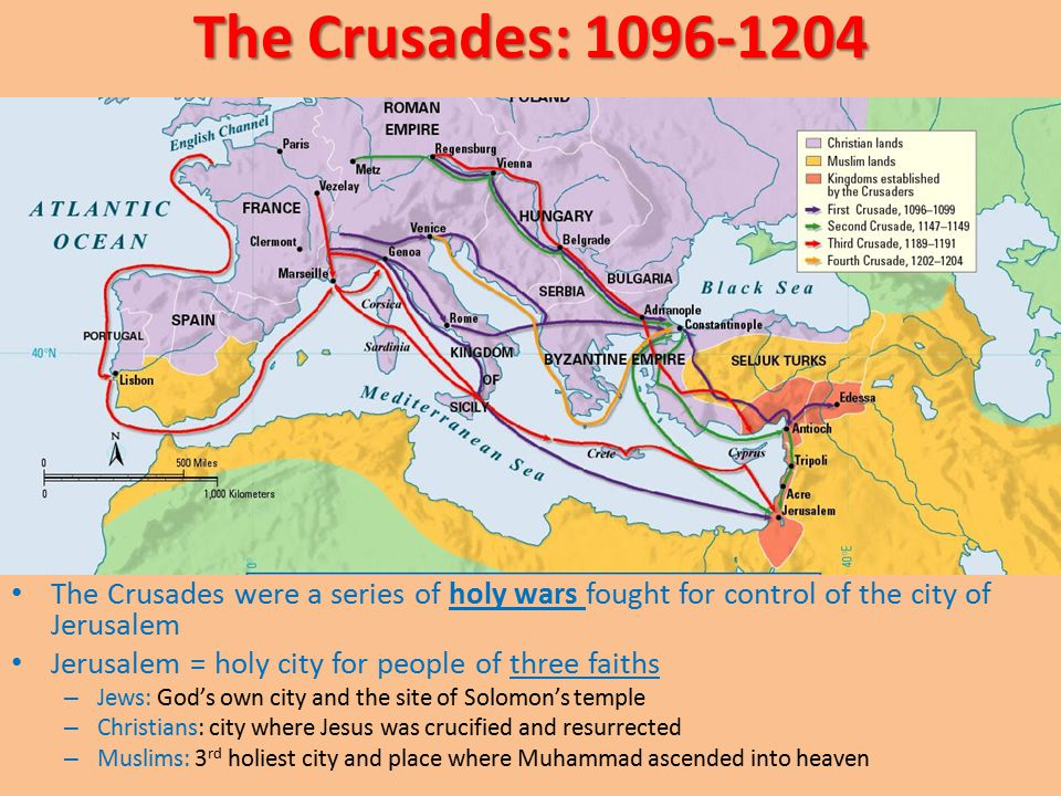 The Crusades: 1096-1204 The Crusades were a series of holy wars fought for control of the city of Jerusalem.