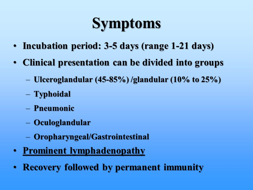 Symptoms Incubation period: 3-5 days (range 1-21 days)