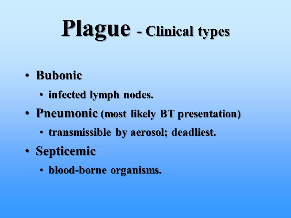Plague - Clinical types