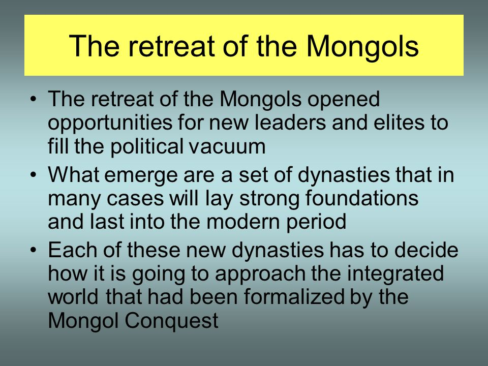 The retreat of the Mongols