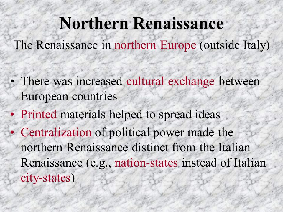 The Renaissance in northern Europe (outside Italy)