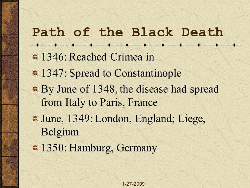 Path of the Black Death 1346: Reached Crimea in