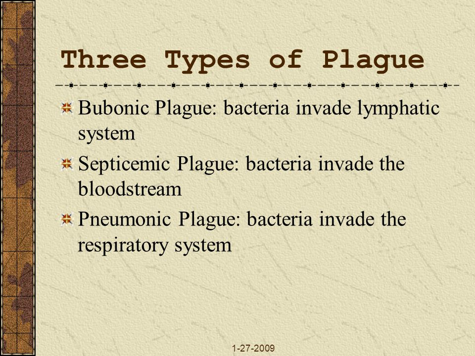 Three Types of Plague Bubonic Plague: bacteria invade lymphatic system