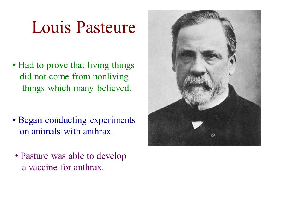 Louis Pasteure Had to prove that living things