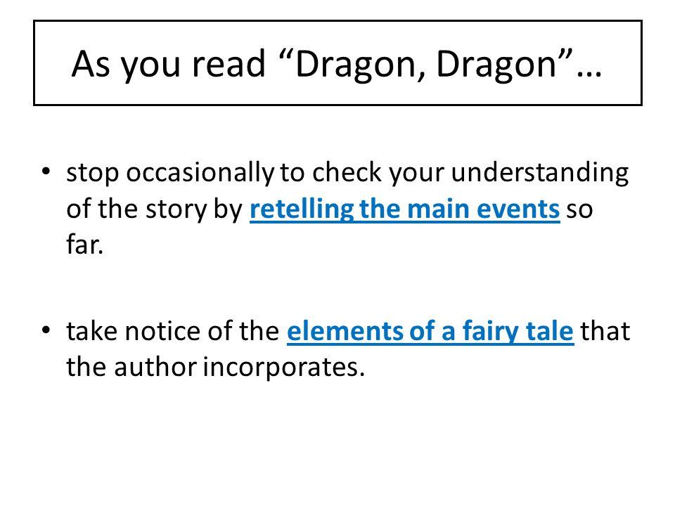 As you read Dragon, Dragon …