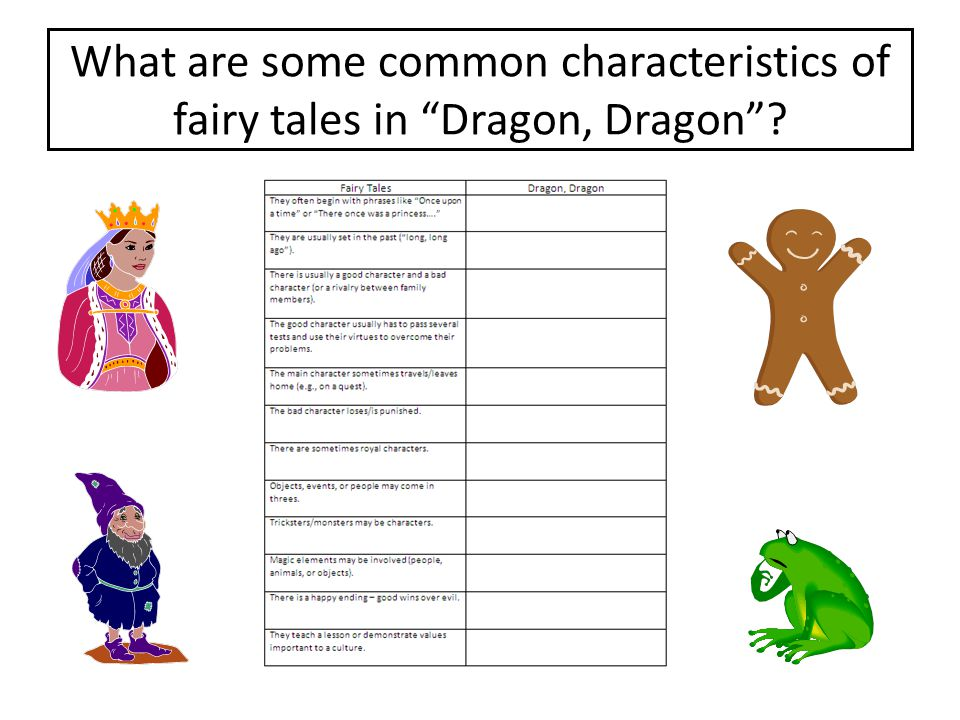 What are some common characteristics of fairy tales in Dragon, Dragon