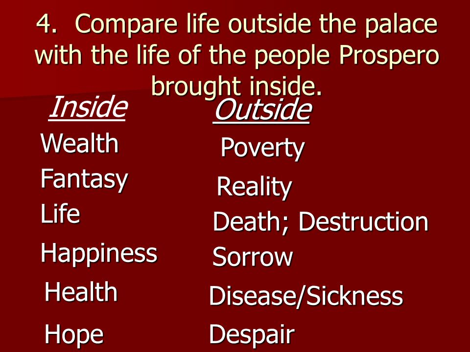 4. Compare life outside the palace with the life of the people Prospero brought inside.