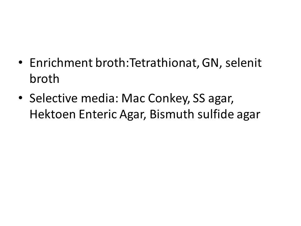 Enrichment broth:Tetrathionat, GN, selenit broth
