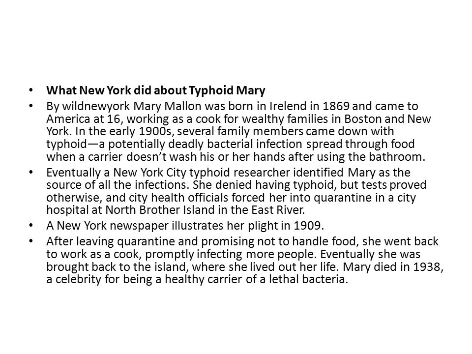 What New York did about Typhoid Mary