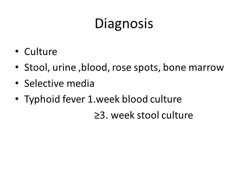 Diagnosis Culture Stool, urine ,blood, rose spots, bone marrow
