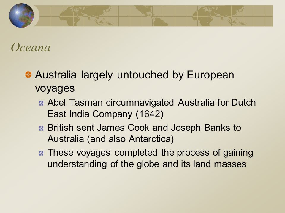 Oceana Australia largely untouched by European voyages