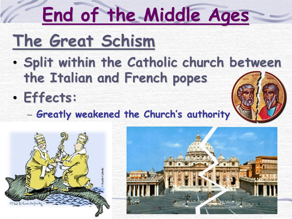 End of the Middle Ages The Great Schism