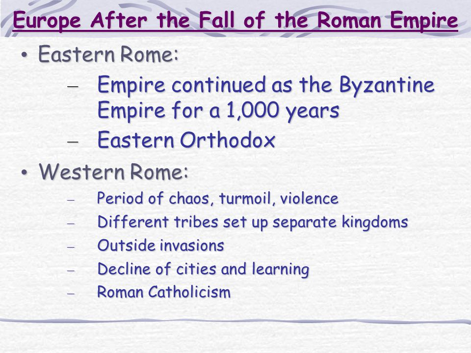 Europe After the Fall of the Roman Empire