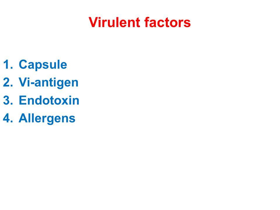 Virulent factors Capsule Vi-antigen Endotoxin Allergens