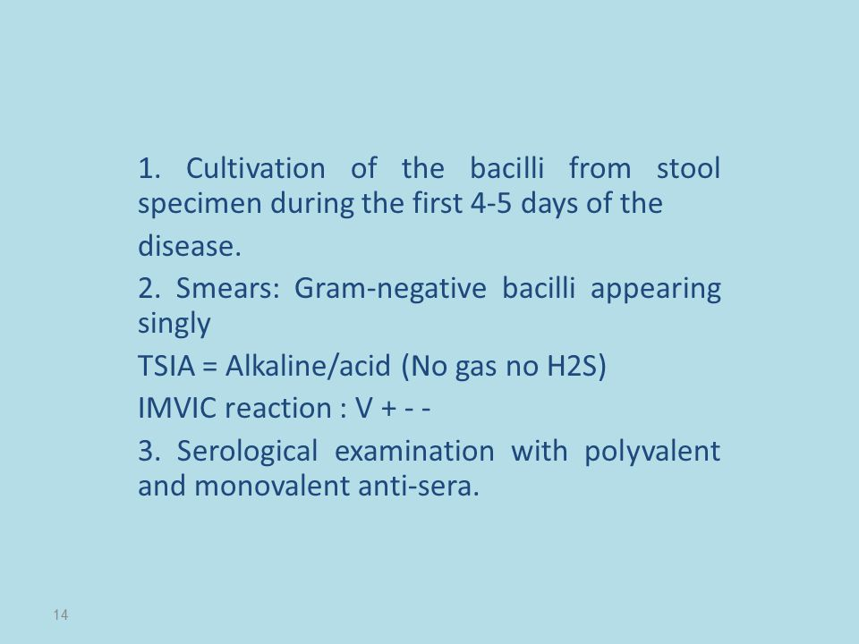 1. Cultivation of the bacilli from stool specimen during the first 4-5 days of the