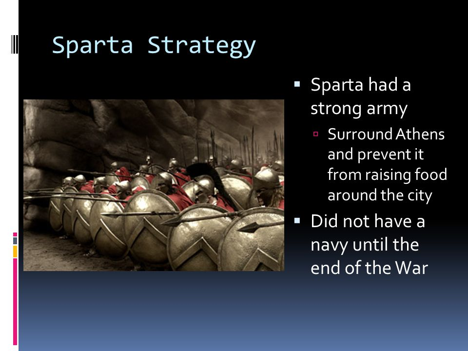 Sparta Strategy Sparta had a strong army