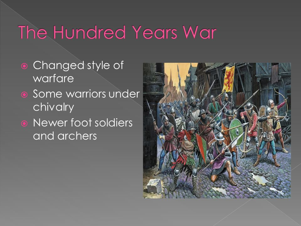 The Hundred Years War Changed style of warfare