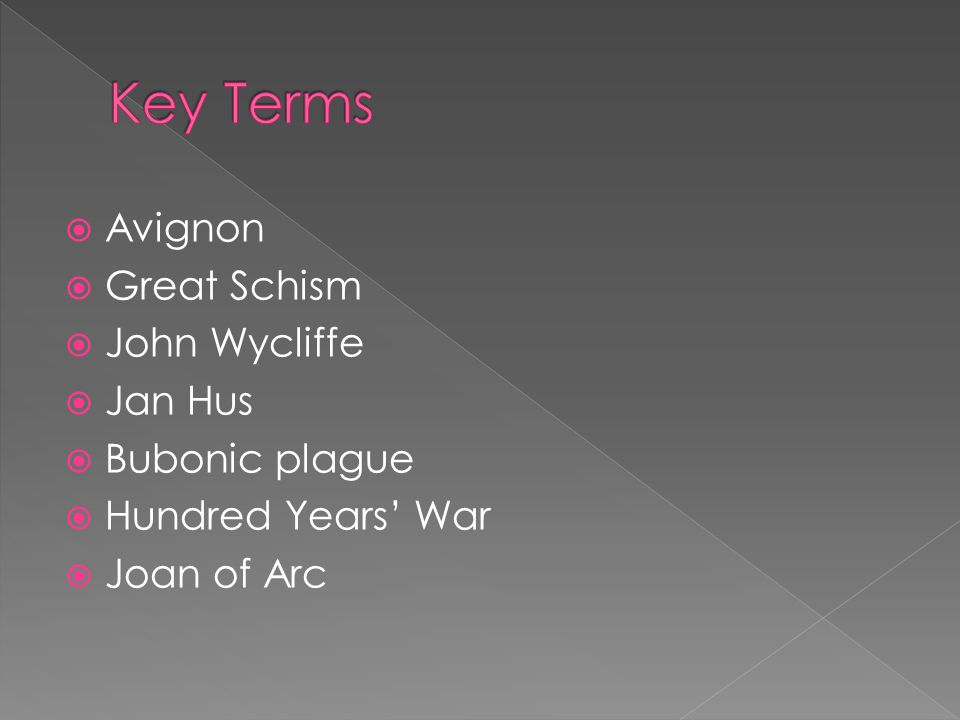 Key Terms Avignon Great Schism John Wycliffe Jan Hus Bubonic plague