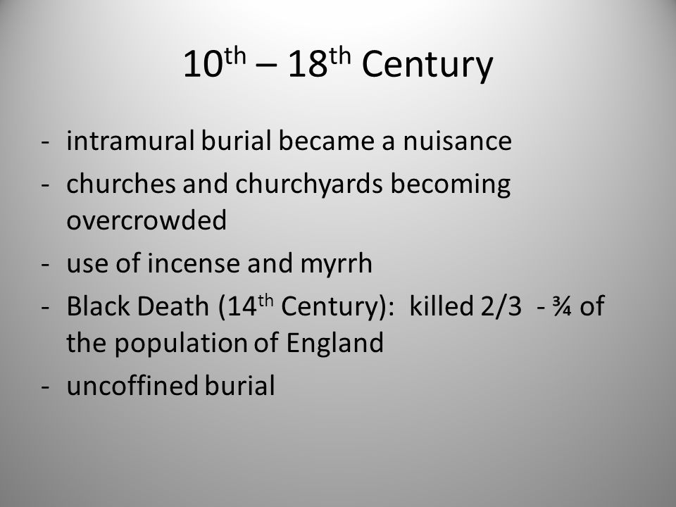 10th – 18th Century intramural burial became a nuisance