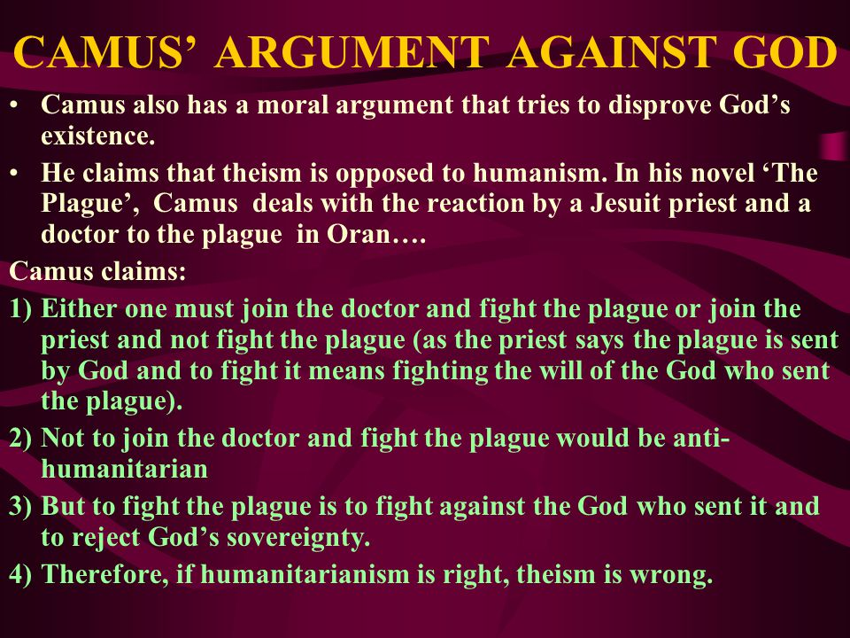 CAMUS' ARGUMENT AGAINST GOD