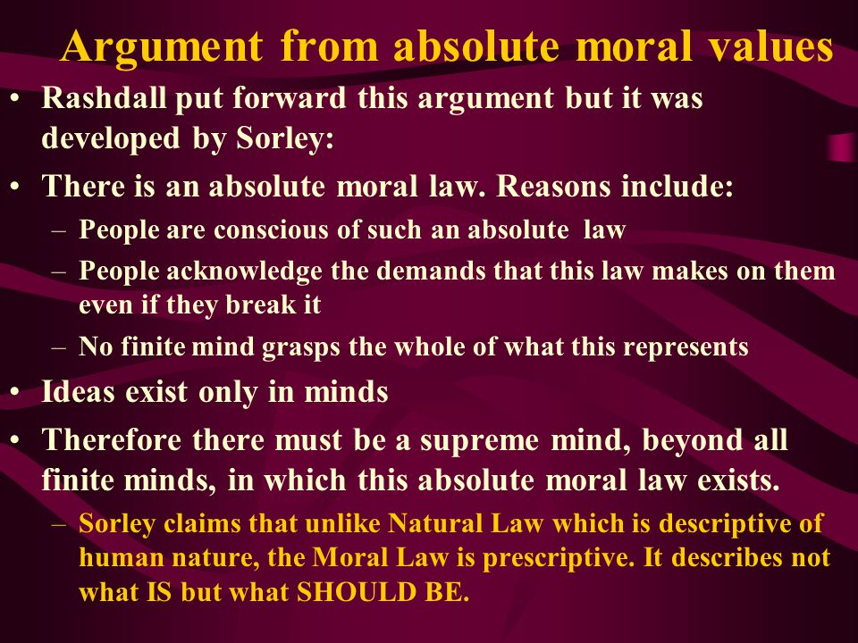 Argument from absolute moral values
