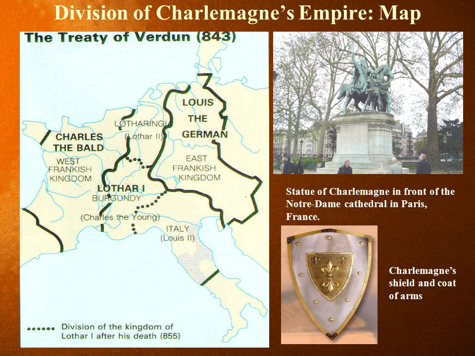 Division of Charlemagne's Empire: Map