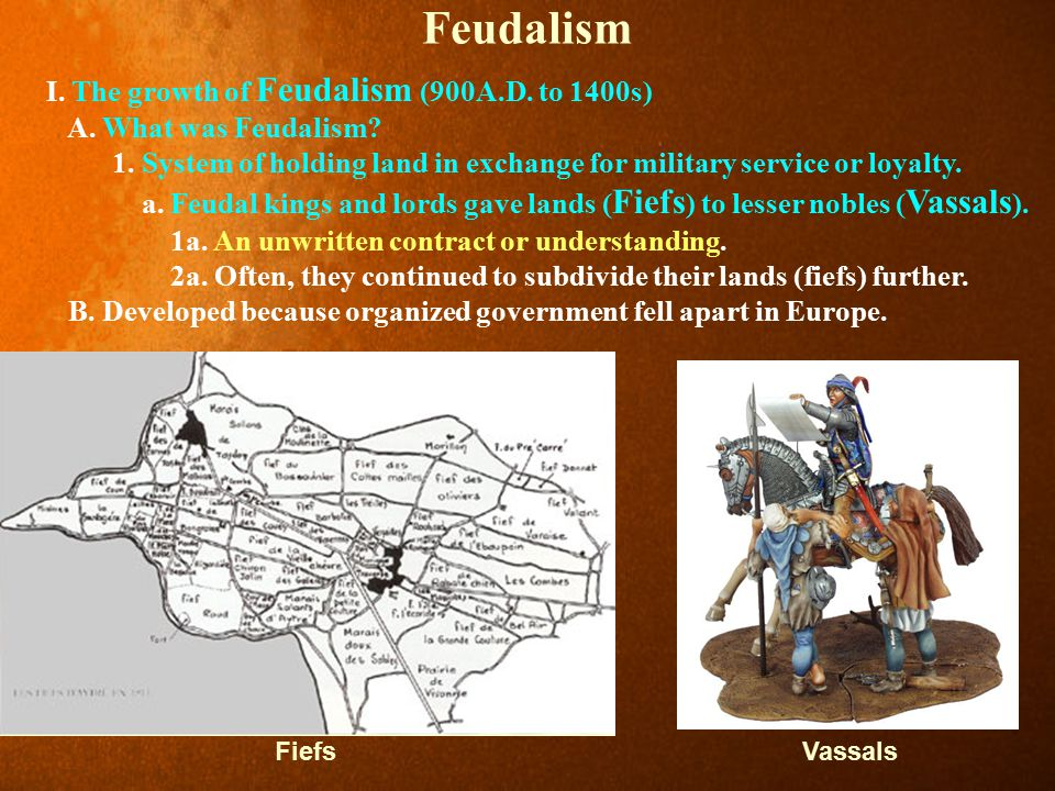 Feudalism I. The growth of Feudalism (900A.D. to 1400s)