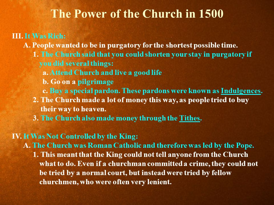 The Power of the Church in 1500