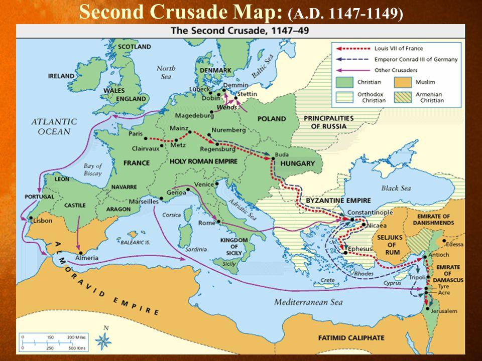 Second Crusade Map: (A.D. 1147-1149)