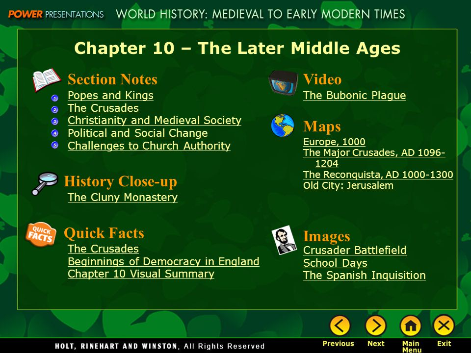 Chapter 10 – The Later Middle Ages