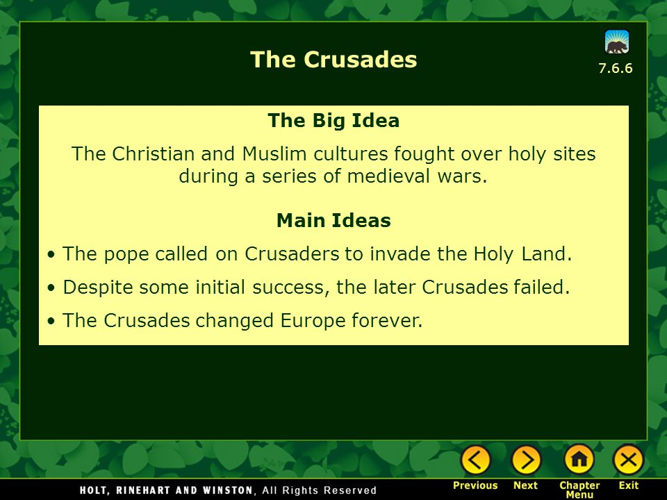 The Crusades The Big Idea