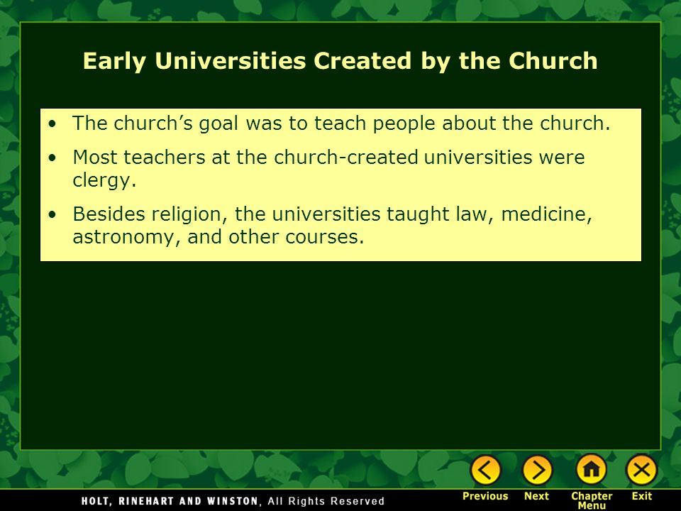 Early Universities Created by the Church