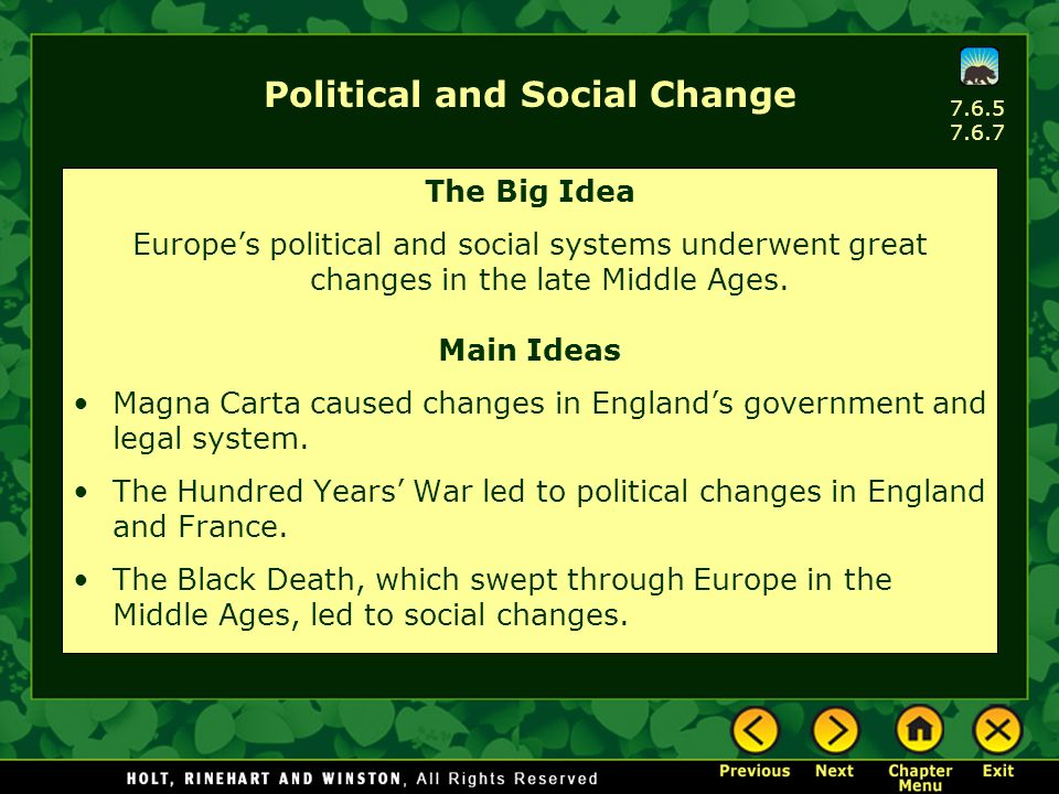 Political and Social Change