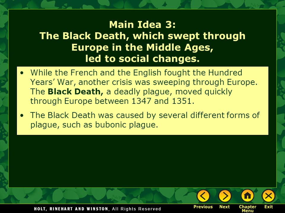 Main Idea 3: The Black Death, which swept through Europe in the Middle Ages, led to social changes.