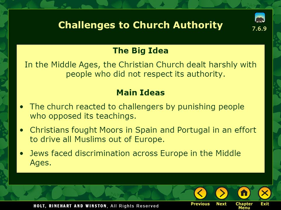 Challenges to Church Authority