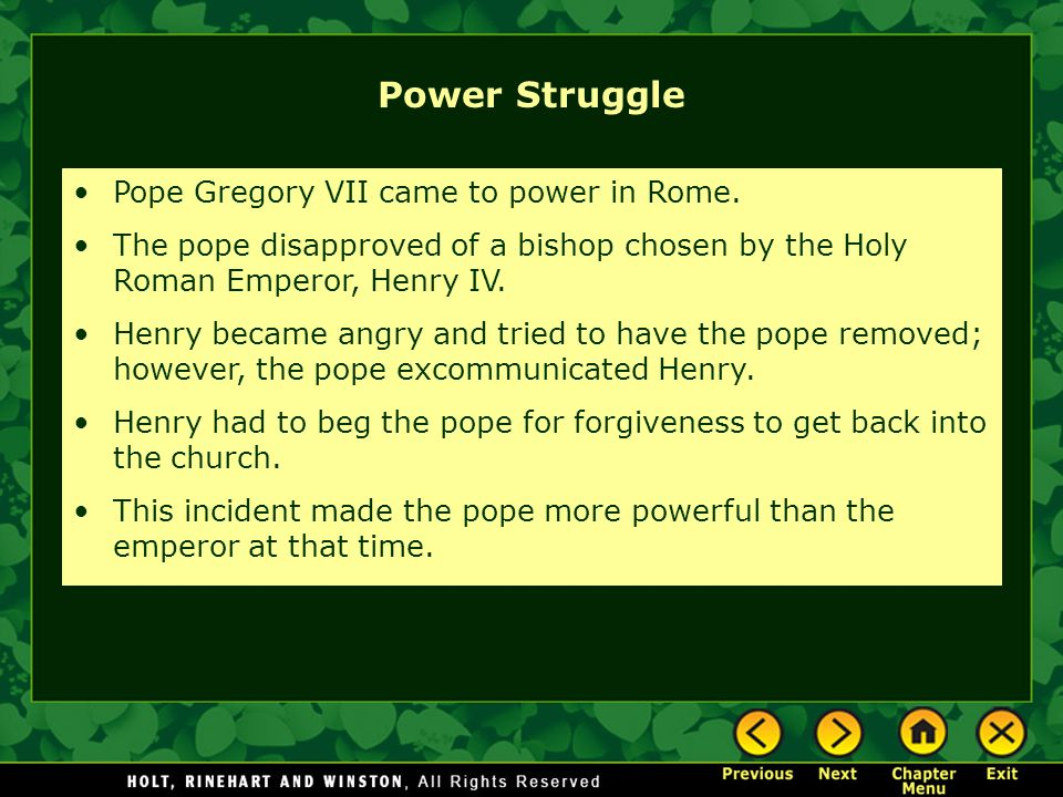 Power Struggle Pope Gregory VII came to power in Rome.