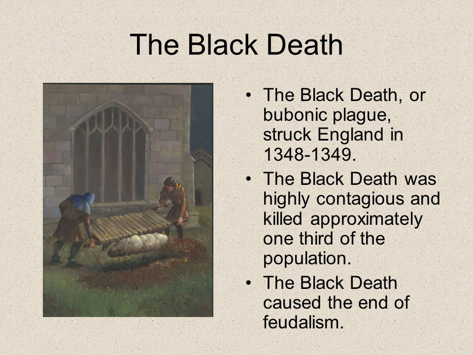 The Black Death The Black Death, or bubonic plague, struck England in 1348-1349.