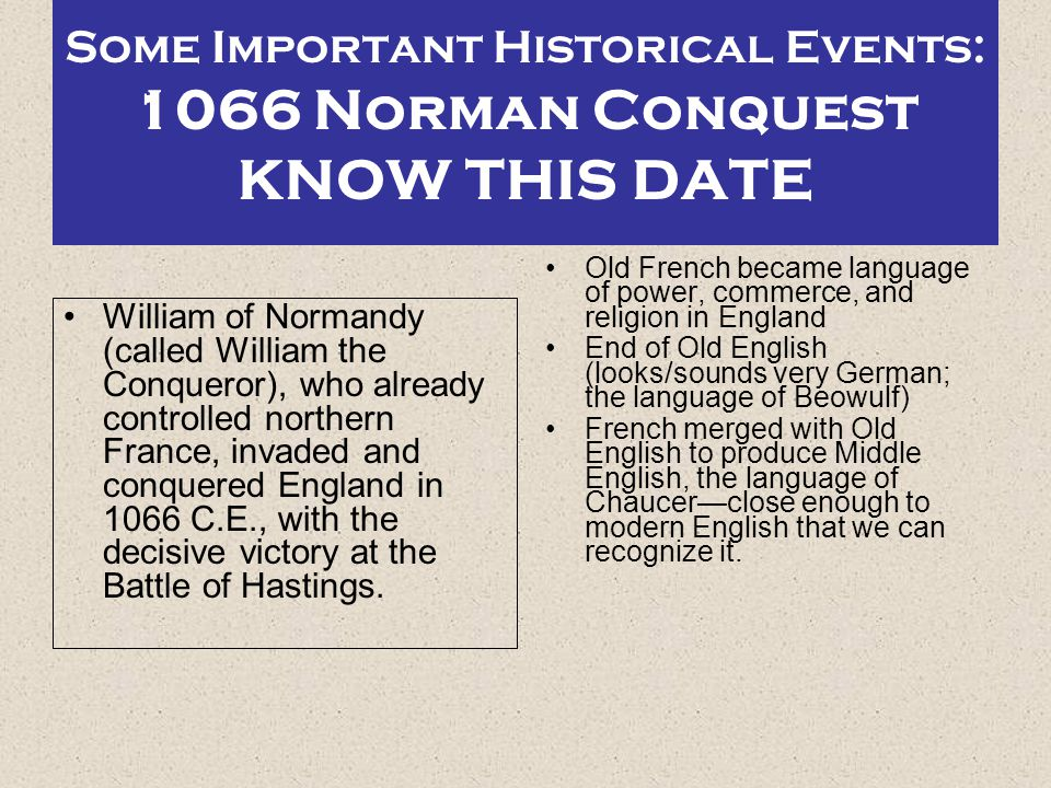 Some Important Historical Events: 1066 Norman Conquest KNOW THIS DATE