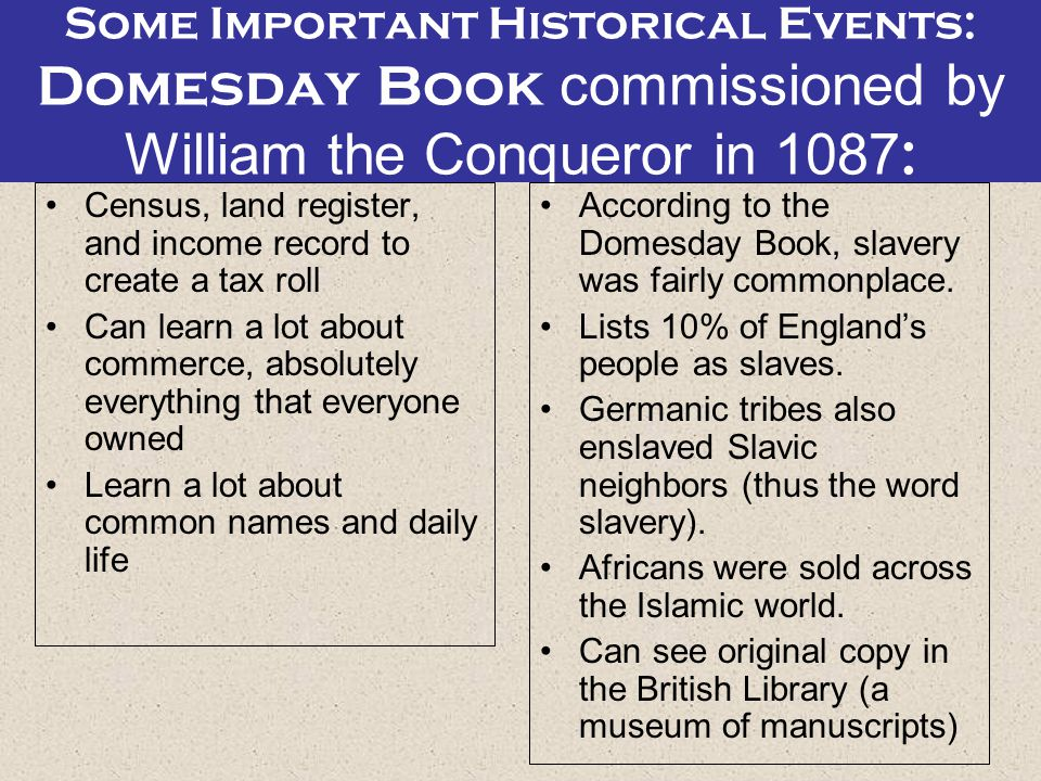 Some Important Historical Events: Domesday Book commissioned by William the Conqueror in 1087:
