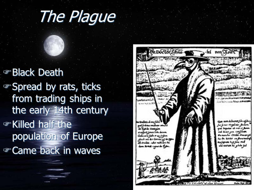 The Plague Black Death. Spread by rats, ticks from trading ships in the early 14th century. Killed half the population of Europe.